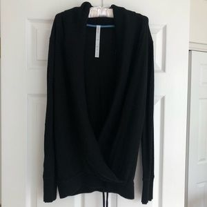 lululemon Long Black Sweater with Crossover Front